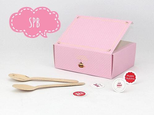 กล่องสแน๊ค/จัดเบรค สีชมพูลายจุด (15.5cm)