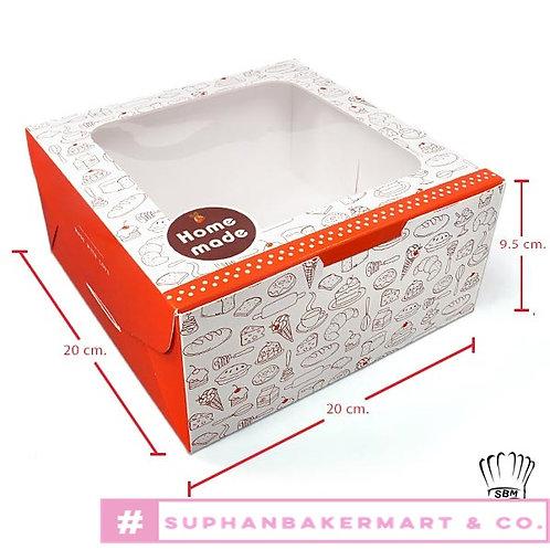 กล่องเค้ก 1 ปอนด์ มีหน้าต่างลายขนม