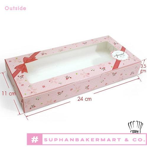 กล่องบราวนี่ 6 ชิ้น สีชมพูลายโบว์
