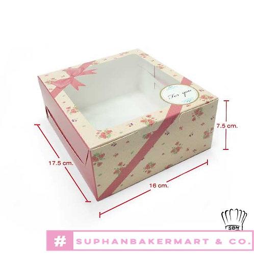 กล่องเค้กครึ่งปอนด์-กล่องชิฟฟ่อน ลายดอกไม้ ชมพูอมส้ม