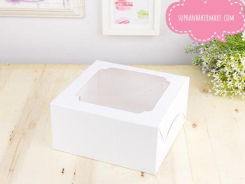 กล่องเค้กสีขาว 1ปอนด์ หน้าต่างกว้าง