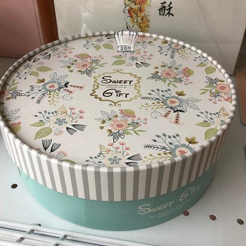 กล่องคุกกี้ทรงกลมสีเขียวอ่อนลายดอกไม้