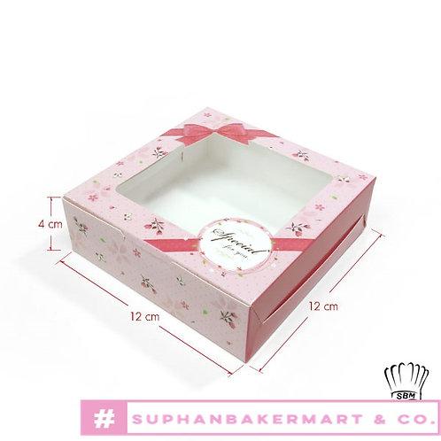 กล่องขนมเปี๊ยะ 5 ชิ้น มีหน้าต่าง ลายโบว์สีชมพู