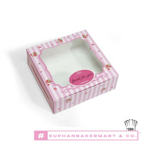 กล่องบราวนี่ชิ้นเดียว ลายทางสีชมพู
