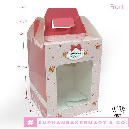 กล่องจัด Gift set ทรงเหลี่ยม 8 นิ้ว สีชมพูลายโบว์