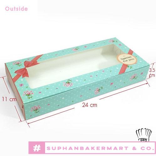 กล่องบราวนี่ 6 ชิ้นสีฟ้าน้ำทะเล