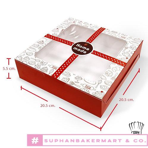 กล่องเค้ก 1 ปอนด์เตี้ย มีหน้าต่าง ลายขนม คาดสายแดง