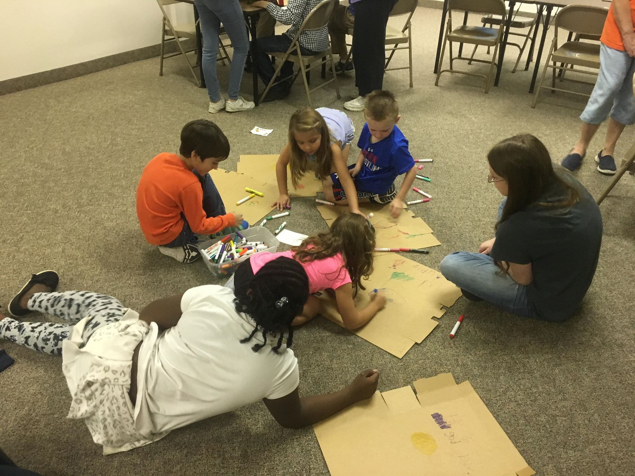 AWANA Kids work on OCC Boxes