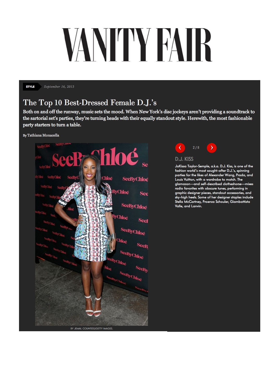 DJ Kiss Vanity Fair Best Dressed