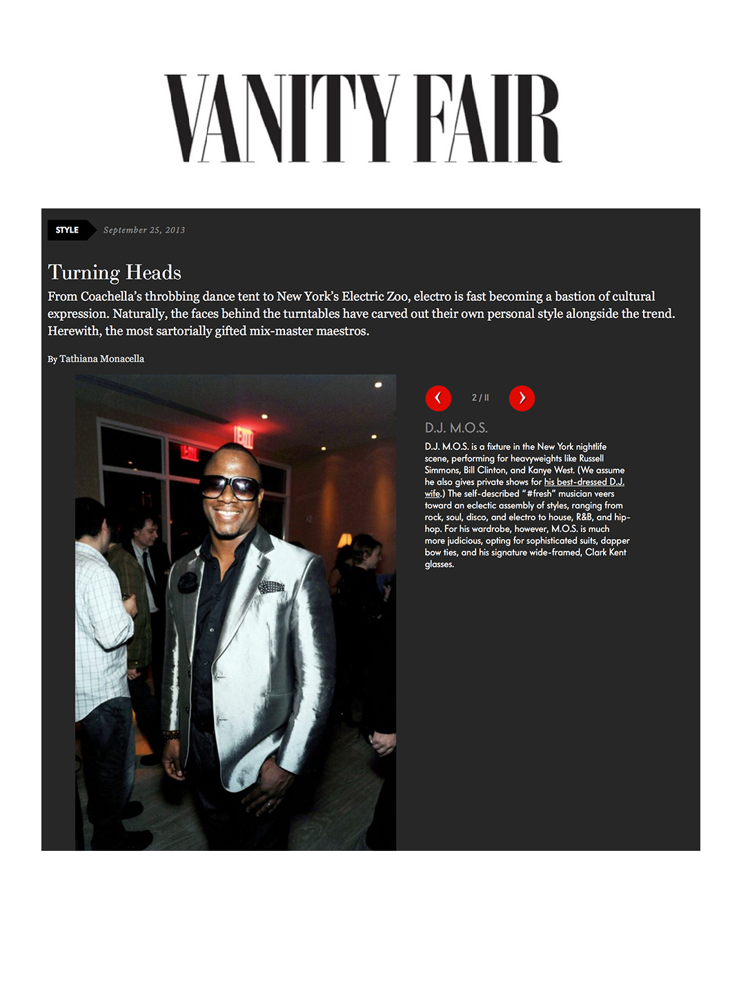 DJ M.O.S. Vanity Fair Best Dressed