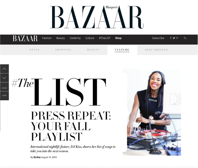 Harper's Bazaar Fall 2014 Playlist