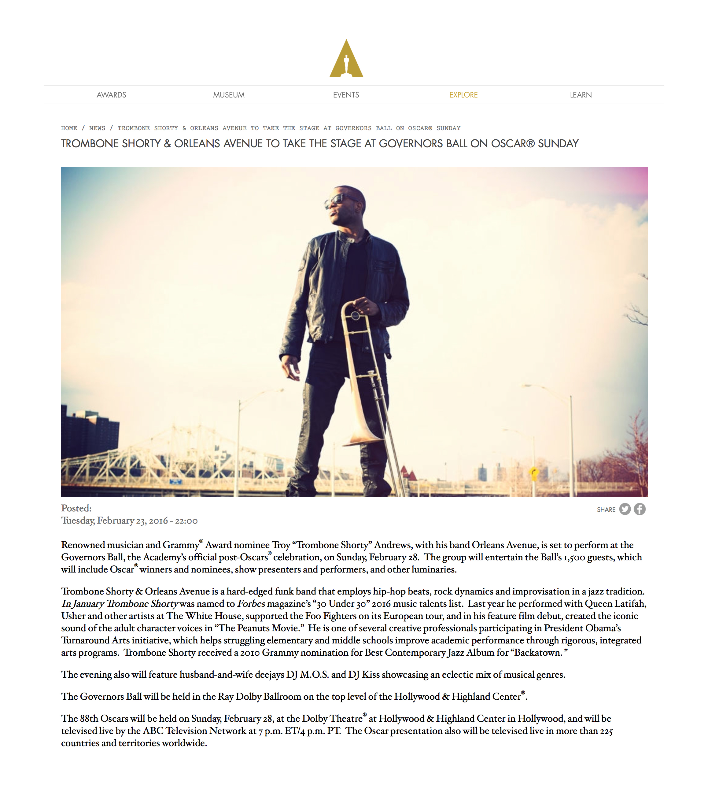 Oscars Governors Ball Announcement