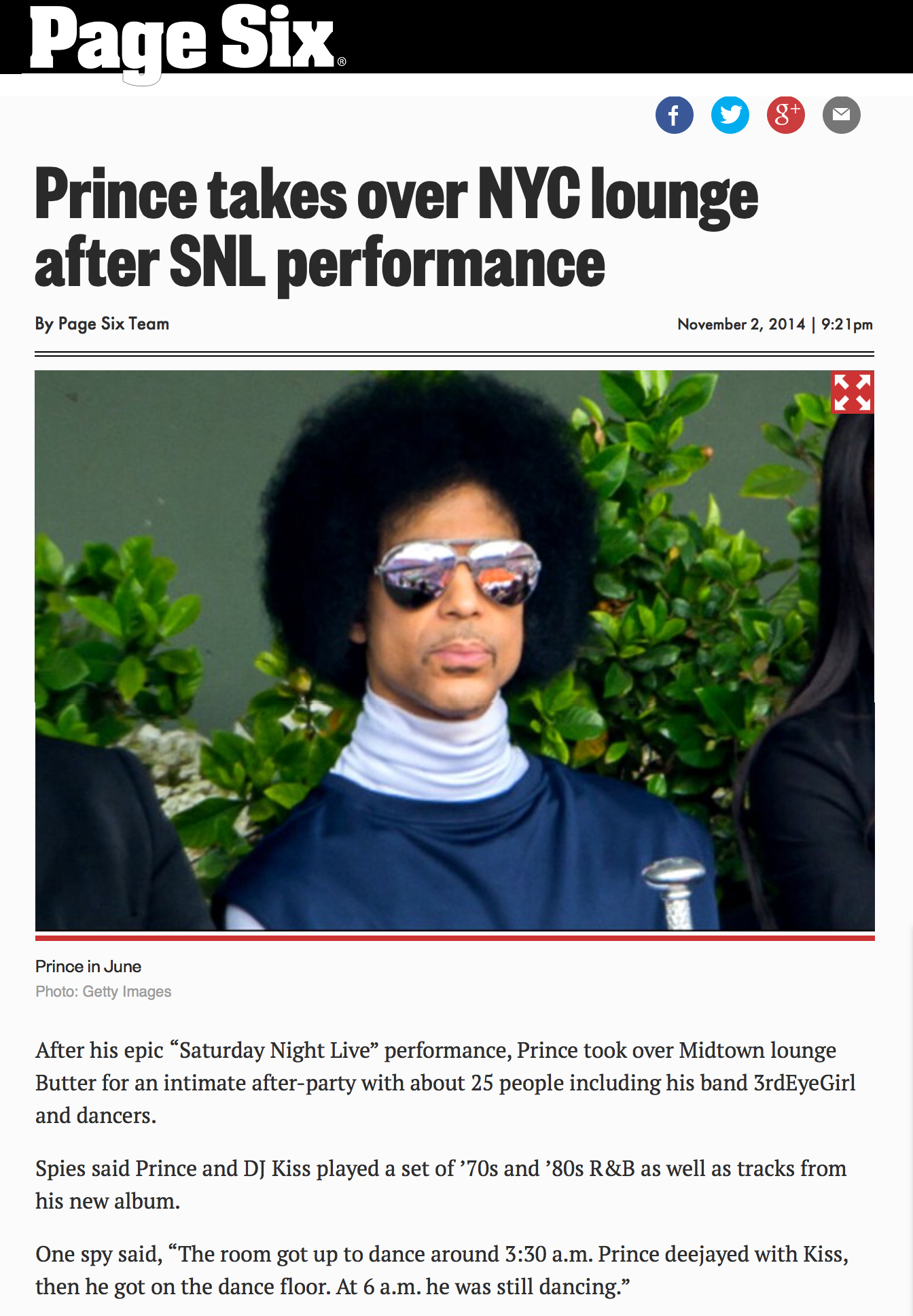 Page Six - Prince Performance