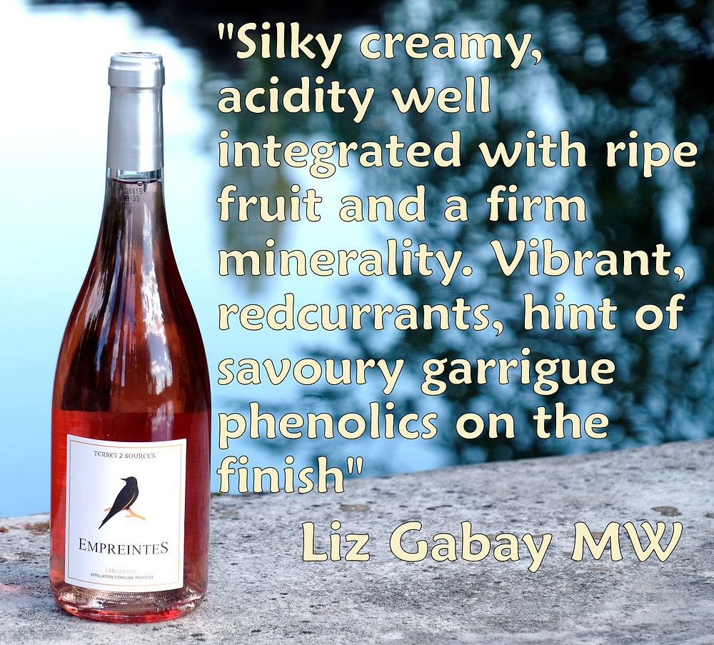 A bottle of Terre des 2 Sources 2019 Empreintes rosé with a complimentary quote by Elizabeth Gabay, MW.