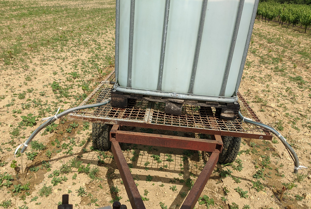 Our home-made vine watering unit, which can irrigate two vines at a time!