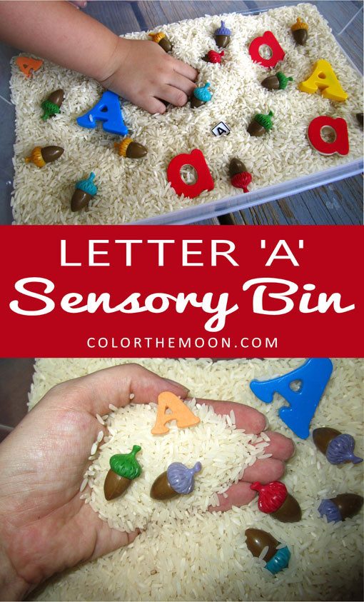 Letter 'A' Sensory Bin. This simple-to-make sensory activity is a great way to teach kids the letters of the alphabet!