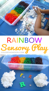 Make your own rainbow noodles & soap clouds - sensory play