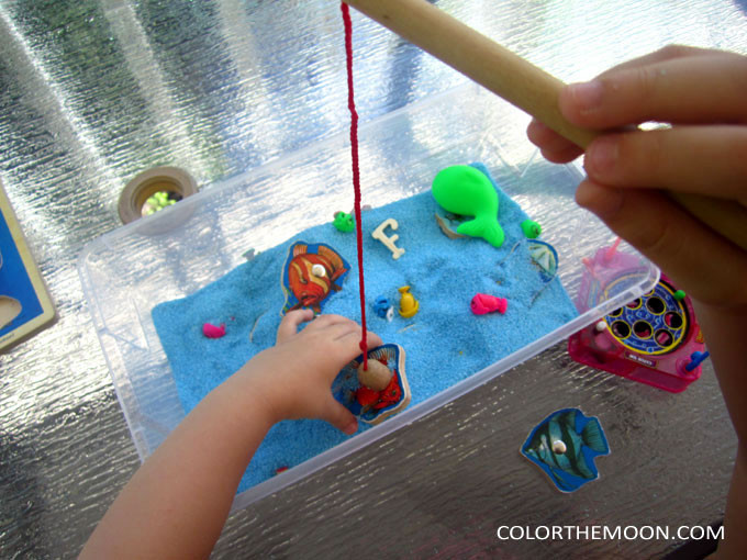 This magnetic fishing sensory bin is SO MUCH FUN and you won't believe how easy it is to make! What a great sensory activity for hands-on play!