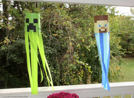 HOW TO MAKE MINECRAFT PARTY DECORATION WINDSOCKS