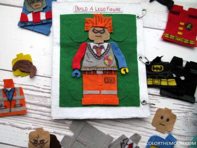 Build a Lego Figure! This quiet book page is SO FUN! What a great way to keep the kids busy and quiet! Fans of Harry Potter, Super Heroes, and The Lego Movie will LOVE this Lego quiet book page!