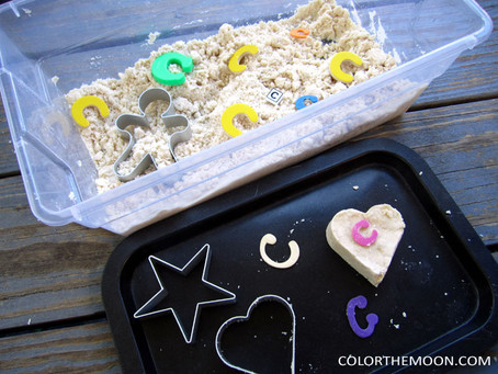 EASY TO MAKE MOON SAND SENSORY BIN