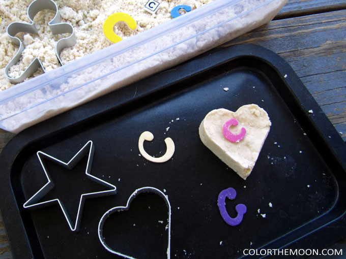 This moon sand is so soft and SO FUN to play with! And it's so easy to make. What a great idea for a kid's sensory bin.