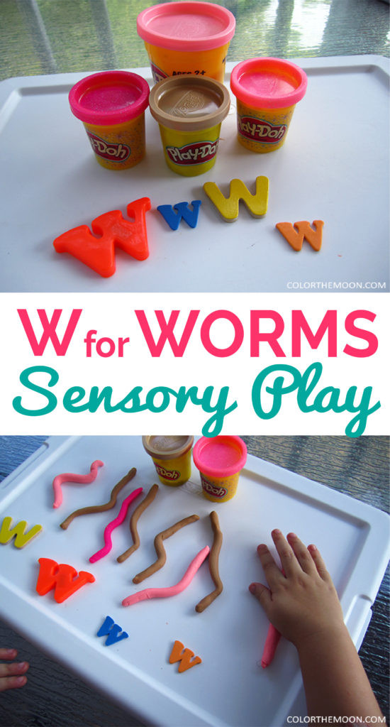 Playdoh Worms sensory play
