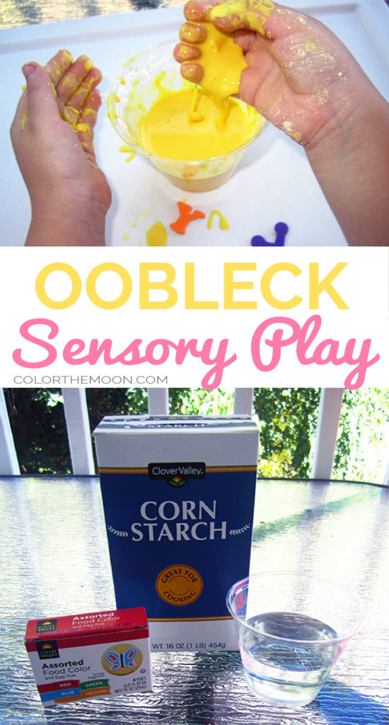 Make your own yellow oobleck - sensory play