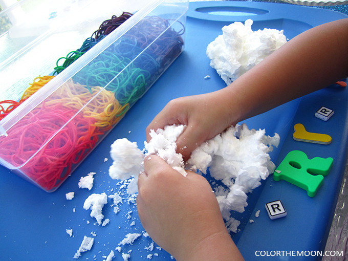soap cloud rainbow sensory bin