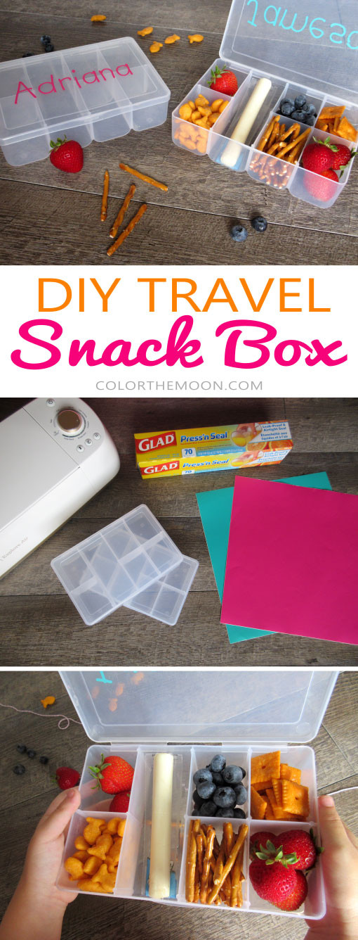 This personalized travel snack box is such an AWESOME idea. And it's so simple to make! What a great way to keep the kids happy while on the go!