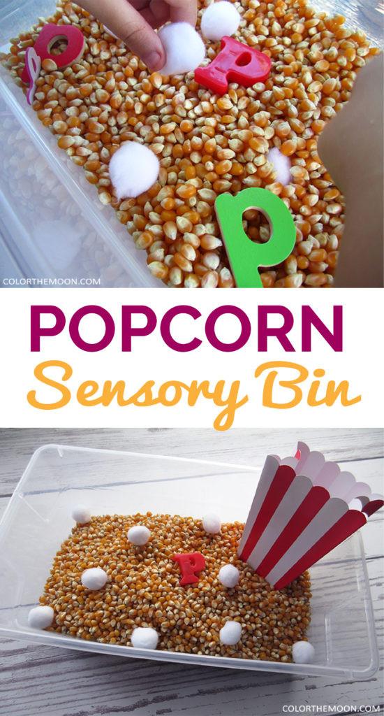 popcorn sensory bin