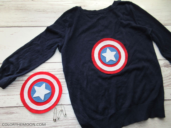 Turn any shirt into a Captain America shirt! This handmade shield is SO EASY to make and looks awesome when pinned to any shirt. What a great idea for a Captain America birthday party!