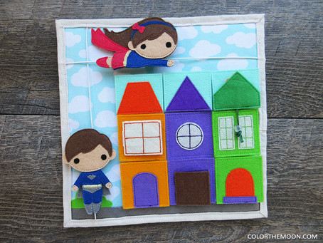 SUPERHERO QUIET BOOK PAGE WITH REMOVABLE BUILDINGS
