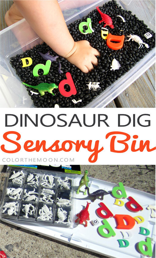 This dinosaur dig sensory bin is SO FUN and so easy to make! What a great way to teach letter sounds! Get kids exploring and learning just like mini paleontologists!