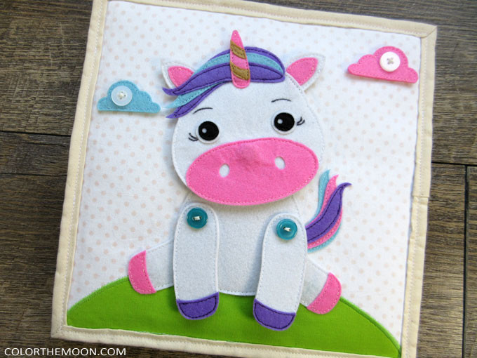 This unicorn quiet book page is SO ADORABLE! Pattern and tutorial now available!