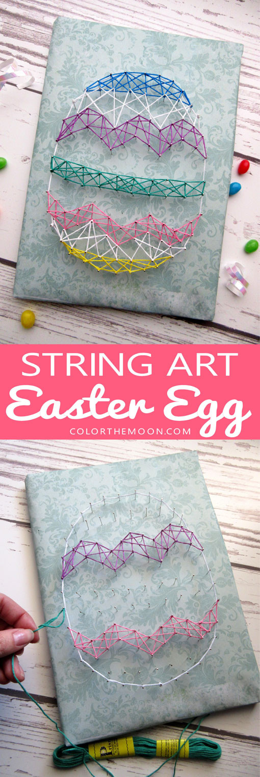 This String-Art Easter Egg is SO COOL and so fun to make! What a great holiday Easter craft for kids!