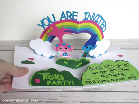 POP-UP TROLLS INVITATION WITH FREE PRINTABLE