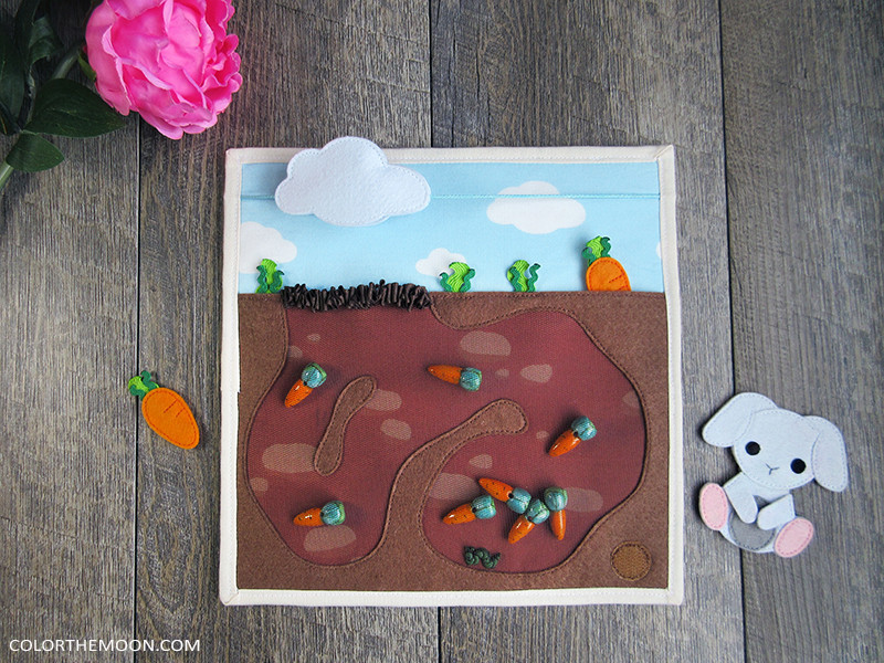 Carrot Bunny Maze - quiet book page - PATTERN & TUTORIAL