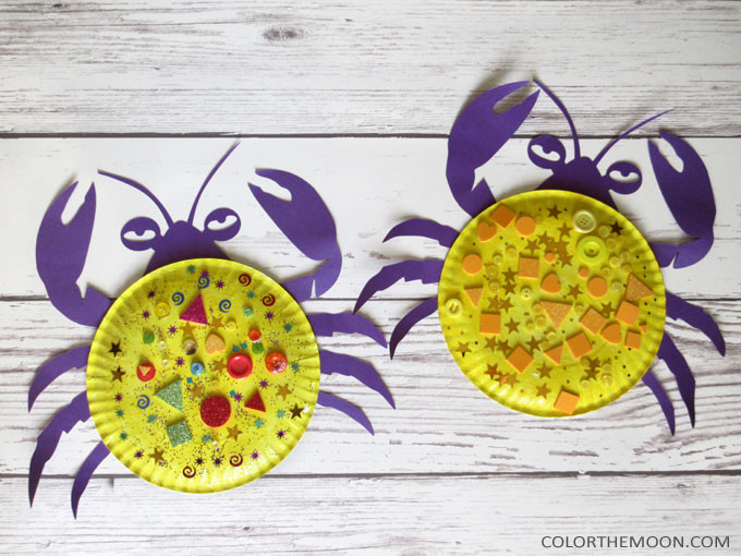 This Moana paper plate craft – Tamatoa crab is SO FUN and so easy to make! What a fun Moana craft for kids. This would make a great craft idea for a Moana birthday party too!