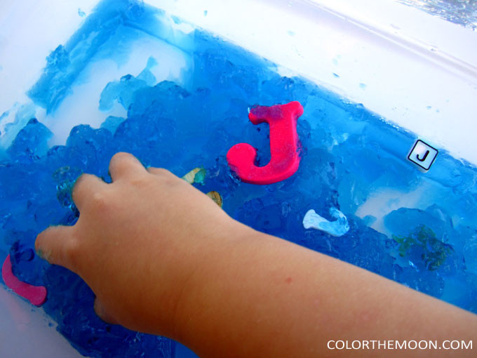 This Jello sensory bin is SO FUN and so easy to make! What a great way to teach kids about the letter J!