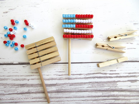 BEADED CLOTHESPIN FLAG: AN EASY FOURTH OF JULY CRAFT FOR KIDS
