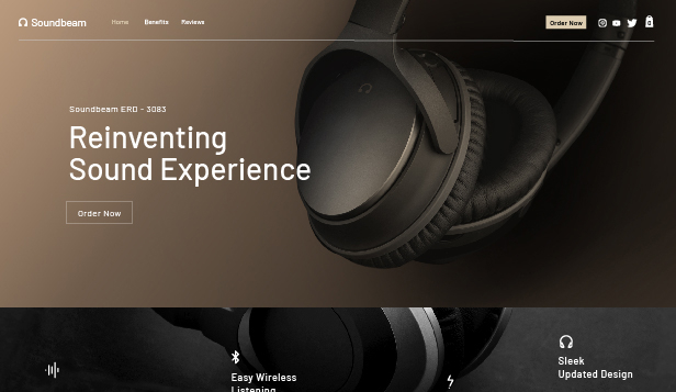 Page de promotion website templates – Page d'atterrissage pour casques audio