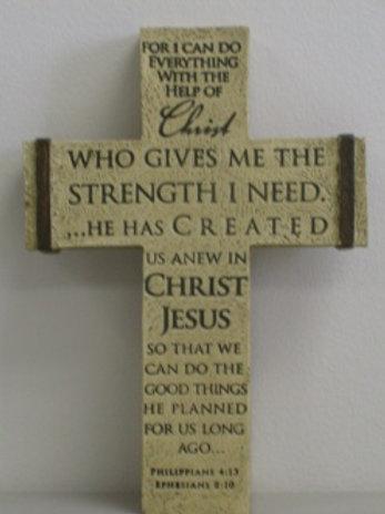 Resin Desktop Cross - CHRIST WHO STRENGTHENS