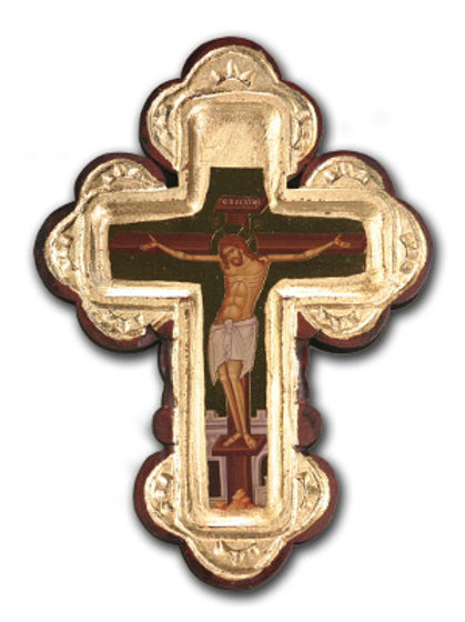 Wooden Cross with Gold Foil and Icon Inlay