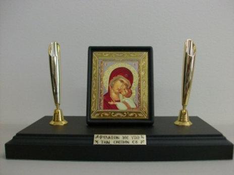Icon Desk Pen Holder - Double Panagia #1
