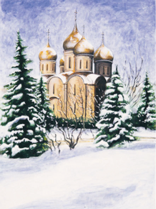Winter Scenes Note Cards: Dormition Cathedral, The Kremlin, Moscow, Russia