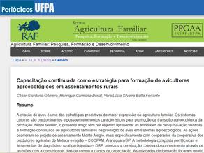 Artigo sobre as ações da escola de avicultores é publicado em revista científica