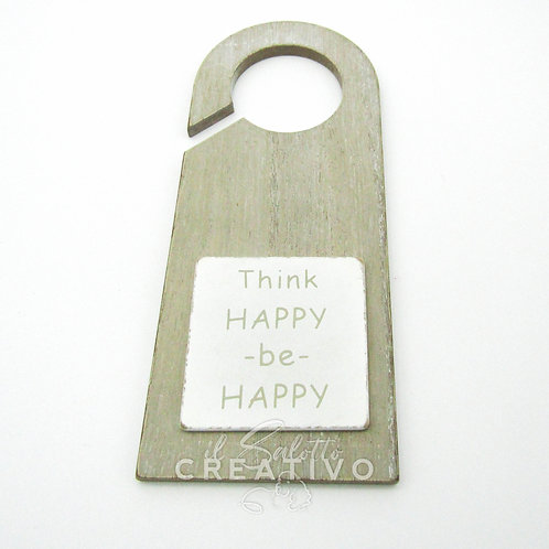 Hanger door Happy/Smaile wooden cm 8x20x2.5 - by I Nastri di Mirta