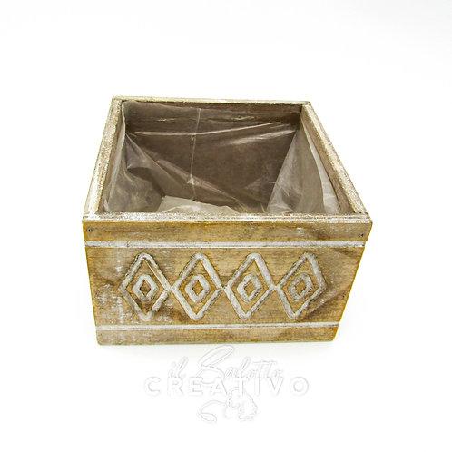Scatola decorata legno cm 13x13