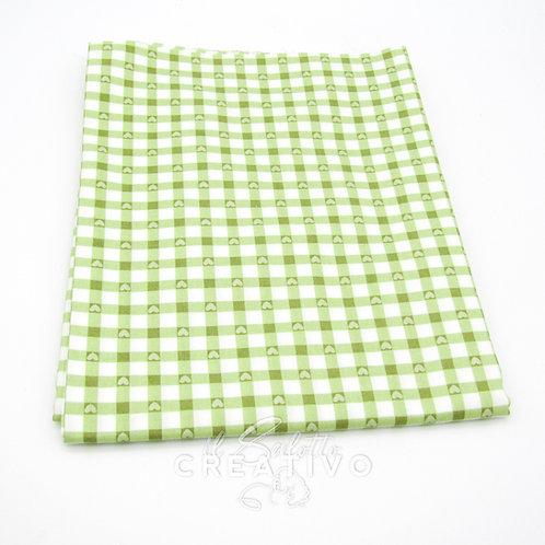 Tessuto 100% Twill di cotone stampato quadretti/cuori